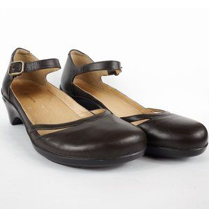 Aravon Mia Shoes Mary Jane Brown Leather Heels